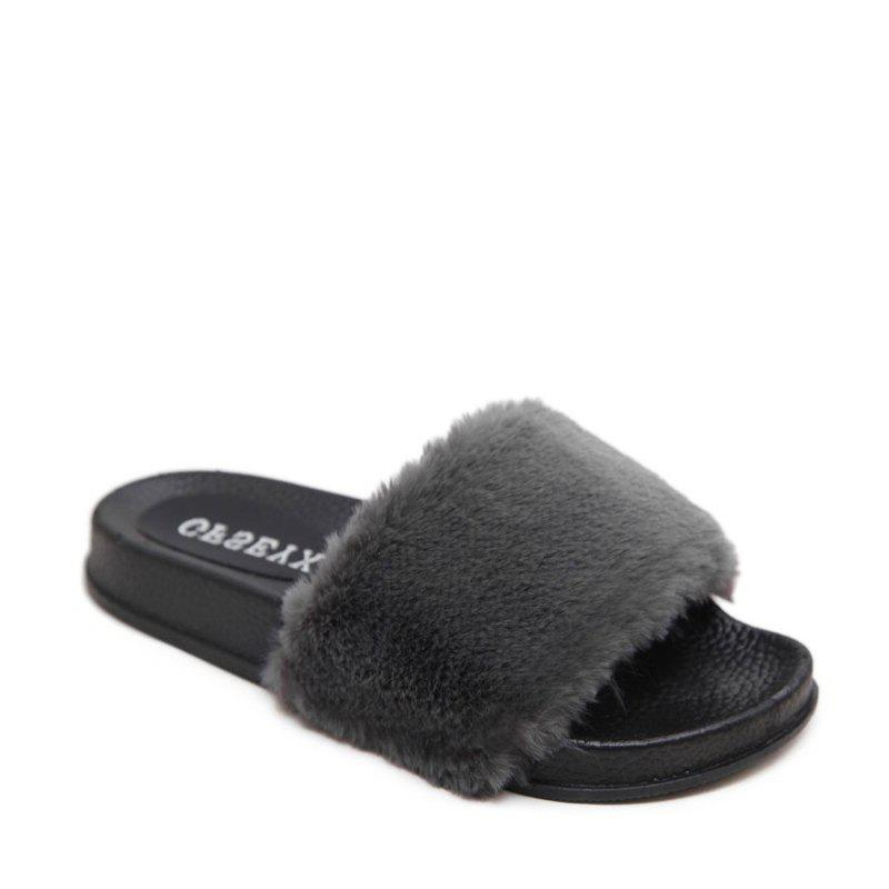 Un doux suède Toe Ladies Lady Fashion pantoufles - gris 36