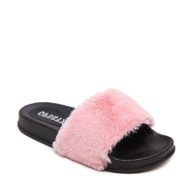 Un doux suède Toe Ladies Lady Fashion pantoufles - ROSE PÂLE 37