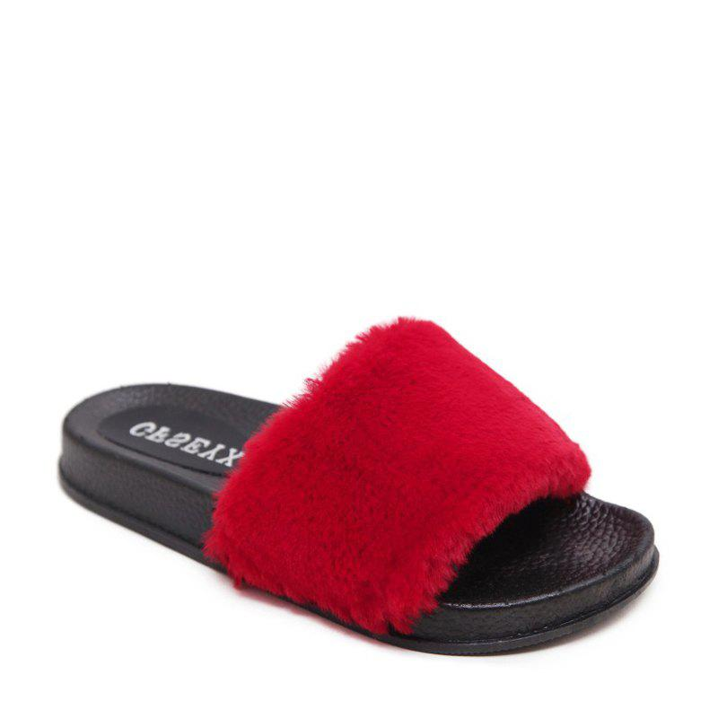 Un doux suède Toe Ladies Lady Fashion pantoufles - Rouge 38