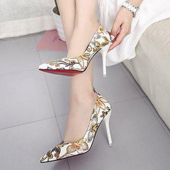 Fashion Printing Pointed Shallow bouche chaussures à talons hauts femmes - Brun 39