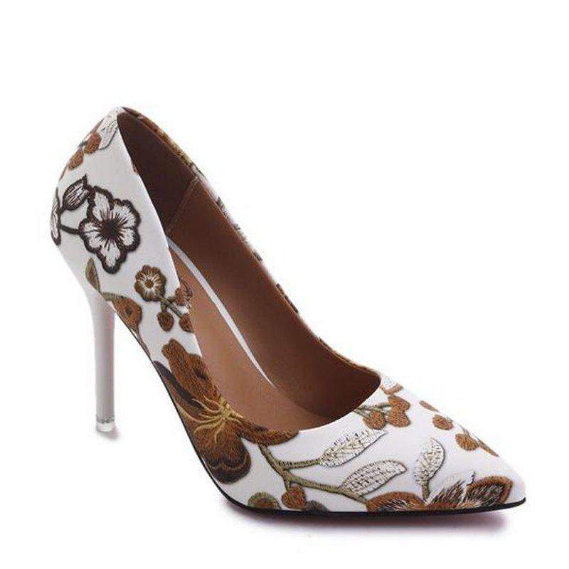 Fashion Printing Pointed Shallow Mouth High-Heeled Women Shoe - BROWN 36
