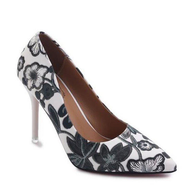 Fashion Printing Pointed Shallow Mouth High-Heeled Women Shoe - BLACK 36