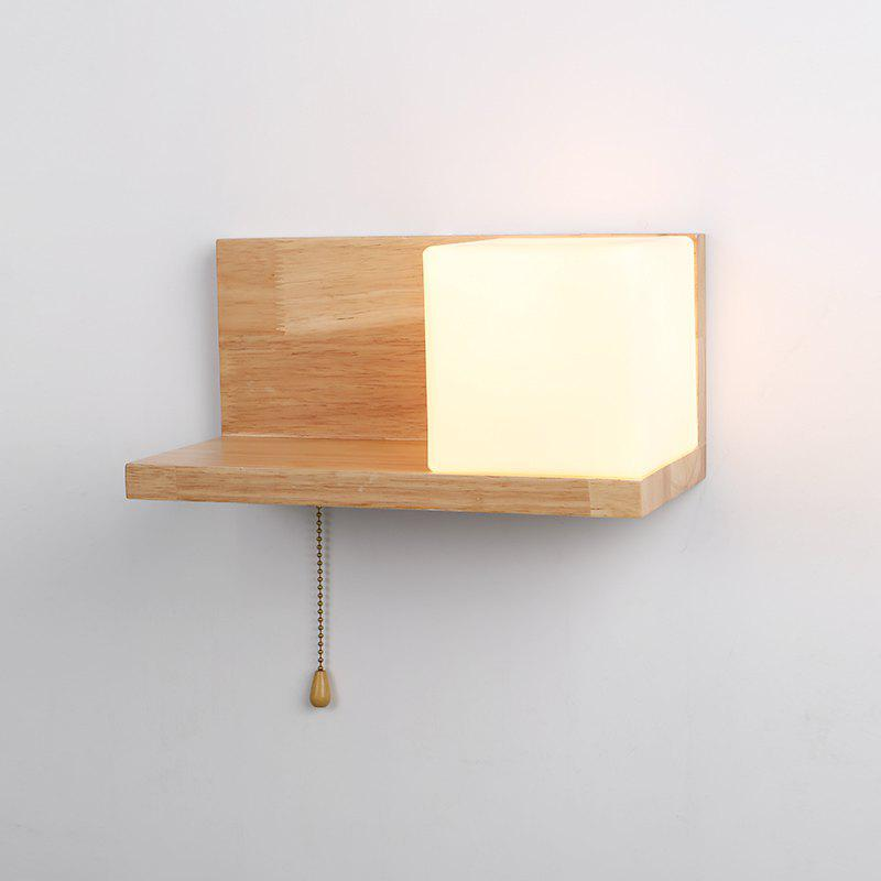 Lazada Wood Wall Light with Frosted Glass for Living Room Bedroom - WHITE 110 - 120V