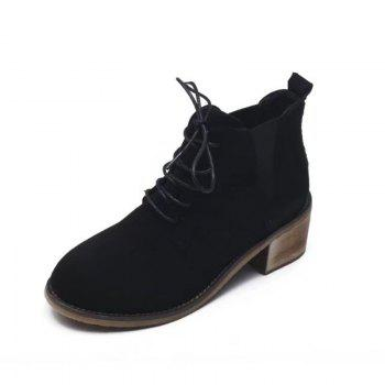 SYE-8898 Round Tie with Martin All-match Thick Boots - BLACK 36