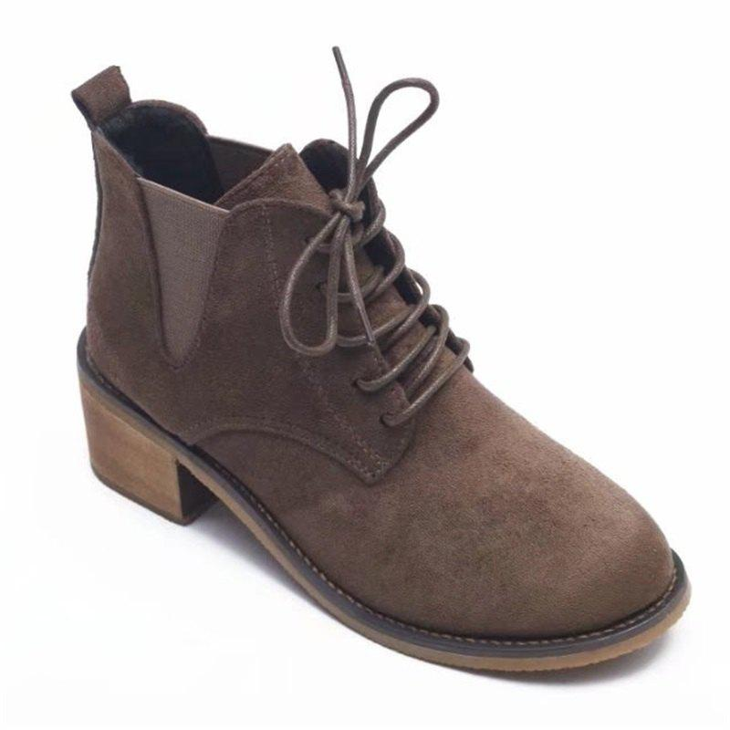 SYE-8898 Round Tie with Martin All-match Thick Boots - KHAKI 36