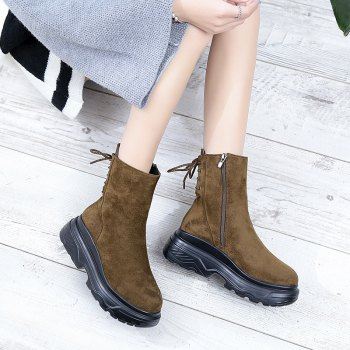 LX-D33Thick Soled Boots Shoes Slip Zipper Muffin - BROWN 36