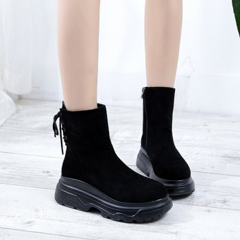 LX-D33Thick Soled Boots Shoes Slip Zipper Muffin - BLACK 36