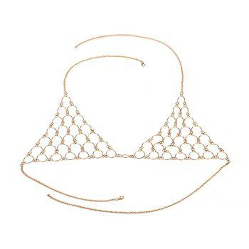 Multi-layered Diamond Sexy Chest Wild Fashion Bikini Body Chain - GOLDEN GOLDEN
