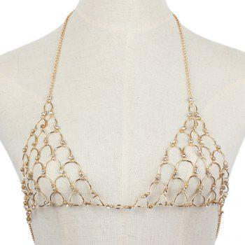 Multi-layered Diamond Sexy Chest Wild Fashion Bikini Body Chain - GOLDEN 1PC