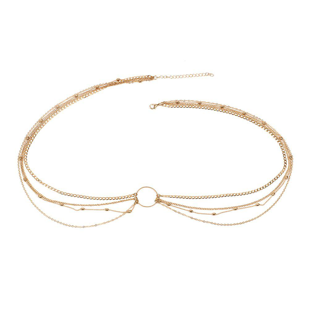 Fashion Simple Jewelry Geometric Circle Metal Multi-layered Waist Chain Women's Clothing Accessories - GOLDEN 1PC