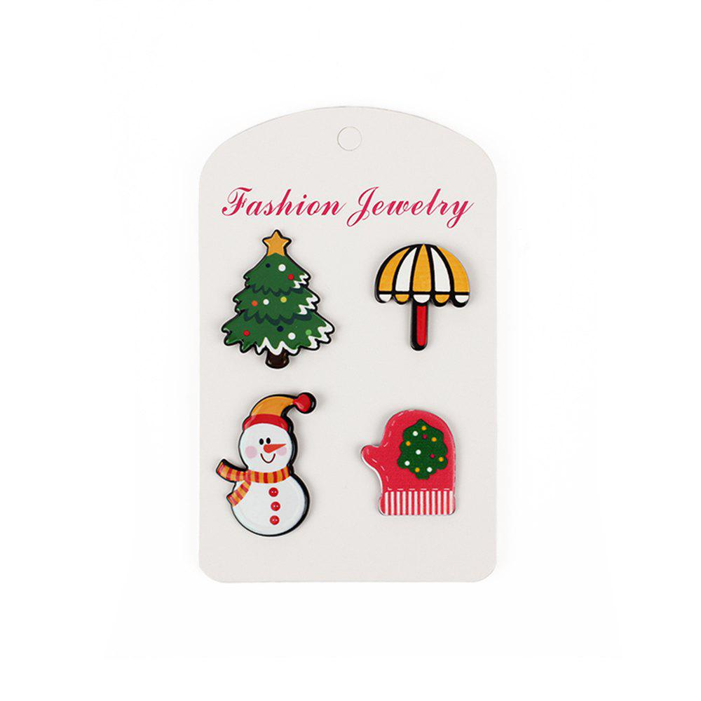 Cartoon Acrylic Beach Umbrella Ornament Mittens Christmas Tree Brooch Set - COLORFUL 4PCS