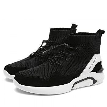 Men Casual Fashion Outdoor Mesh Breathable Lace Up Athletic Solid Flat Shoes - BLACK 44