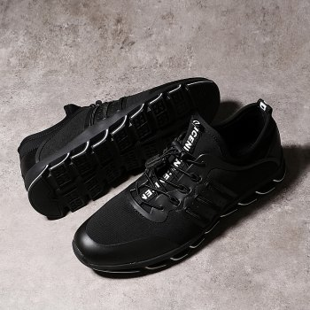 Men Casual Fashion Breathable Mesh Lace Up Athletic Solid  Shoes - BLACK 44