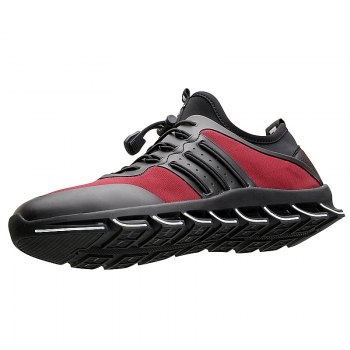 Men Casual Fashion Breathable Mesh Lace Up Athletic Solid  Shoes - RED 42