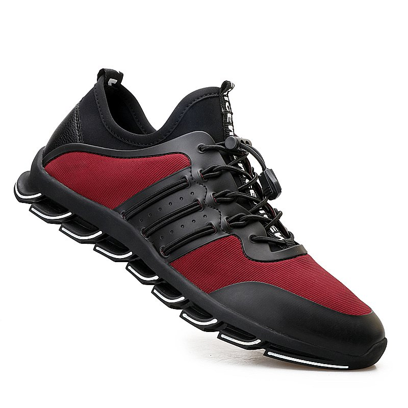 Men Casual Fashion Breathable Mesh Lace Up Athletic Solid  Shoes - RED 41