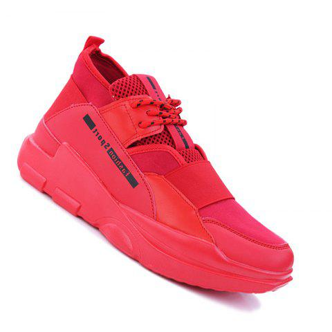 Hommes Casual Fashion Mesh respirant Lace Up Chaussures athlétiques solides - Rouge 38