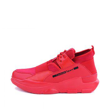 Hommes Casual Fashion Mesh respirant Lace Up Chaussures athlétiques solides - Rouge 39