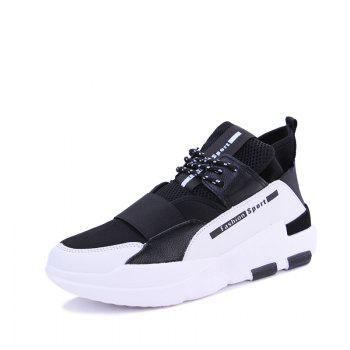 Hommes Casual Fashion Mesh respirant Lace Up Chaussures athlétiques solides - Blanc 44