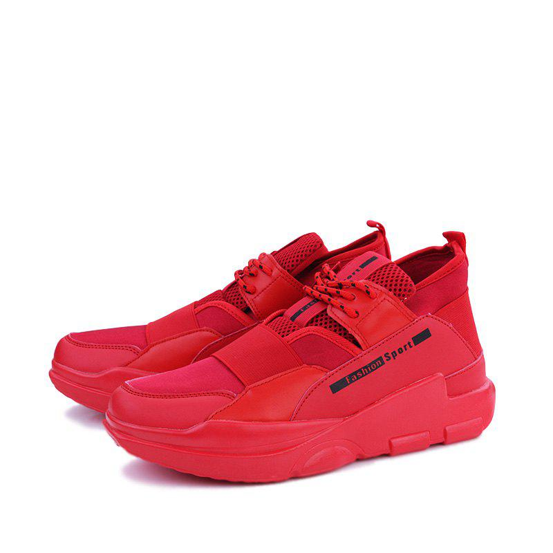 Hommes Casual Fashion Mesh respirant Lace Up Chaussures athlétiques solides - Rouge 40