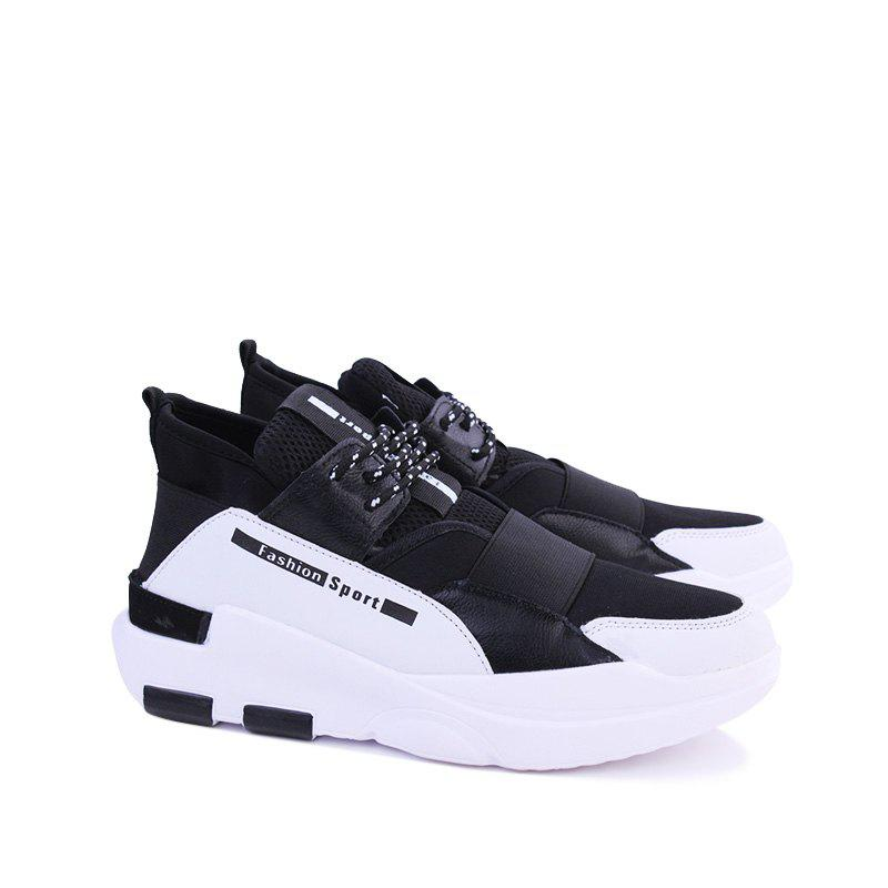 Hommes Casual Fashion Mesh respirant Lace Up Chaussures athlétiques solides - Blanc 43