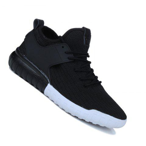 Men Casual Fashion Mesh Breathable Lace Up Athletic Winter Walking Shoes - BLACK 45