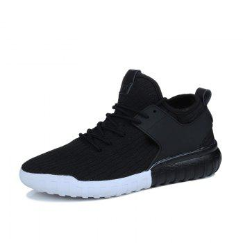 Men Casual Fashion Mesh Breathable Lace Up Athletic Winter Walking Shoes - BLACK 39