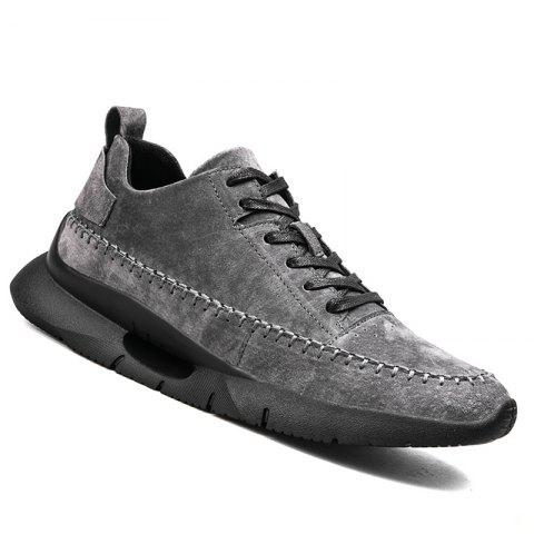 Athletic Breathable Leather Men Running Shoes Sport Outdoor Jogging Walking Sneakers - GRAY 41