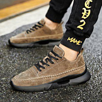Athletic Breathable Leather Men Running Shoes Sport Outdoor Jogging Walking Sneakers - KHAKI 43