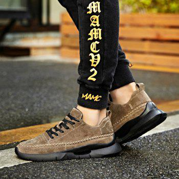 Athletic Breathable Leather Men Running Shoes Sport Outdoor Jogging Walking Sneakers - KHAKI 44