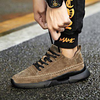 Athletic Breathable Leather Men Running Shoes Sport Outdoor Jogging Walking Sneakers - KHAKI 39