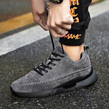 Athletic Breathable Leather Men Running Shoes Sport Outdoor Jogging Walking Sneakers - GRAY 43