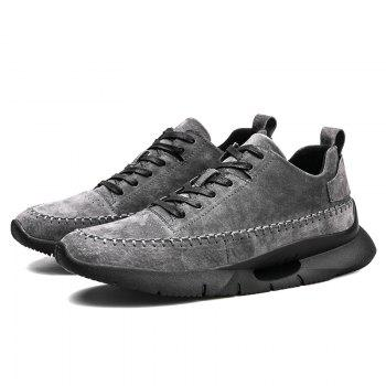 Athletic Breathable Leather Men Running Shoes Sport Outdoor Jogging Walking Sneakers - GRAY 44