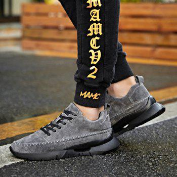 Athletic Breathable Leather Men Running Shoes Sport Outdoor Jogging Walking Sneakers - GRAY 42