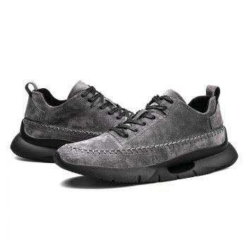 Athletic Breathable Leather Men Running Shoes Sport Outdoor Jogging Walking Sneakers - GRAY 39