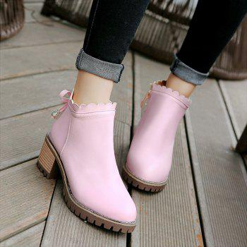 Bow Knot Round Head Student Heel Boots - PINK PINK