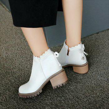 Bow Knot Round Head Student Heel Boots - WHITE WHITE