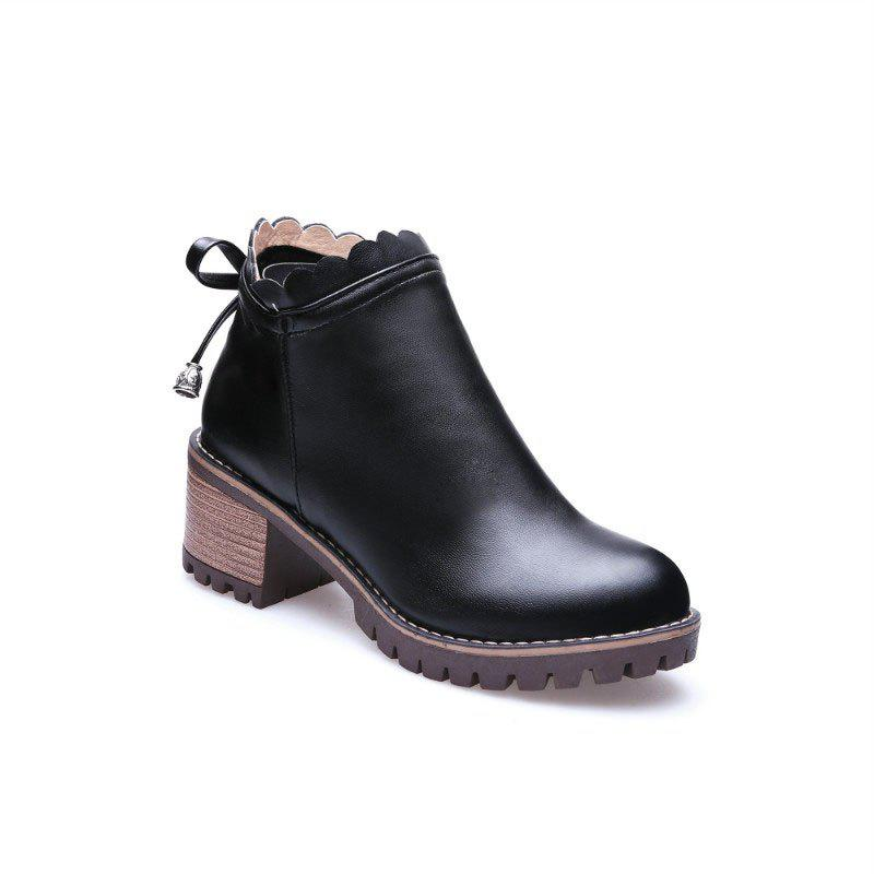 Bow Knot Round Head Student Heel Boots - BLACK 34