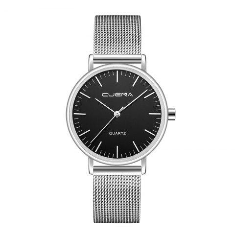 CUENA 6645G Women Casual Quartz Watch Stainless Steel Band Wristwatch - BLACK SILVER