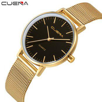 CUENA 6645G Women Casual Quartz Watch Stainless Steel Band Wristwatch -  BLACK GOLD