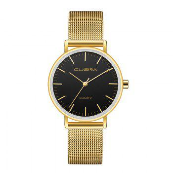 CUENA 6645G Women Casual Quartz Watch Stainless Steel Band Wristwatch - BLACK GOLD BLACK GOLD