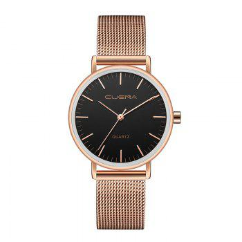 CUENA 6645G Women Casual Quartz Watch Stainless Steel Band Wristwatch - BLACK ROSE GOLD BLACK ROSE GOLD