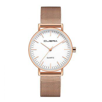 CUENA 6645G Women Casual Quartz Watch Stainless Steel Band Wristwatch - WHITE ROSE GOLD WHITE ROSE GOLD