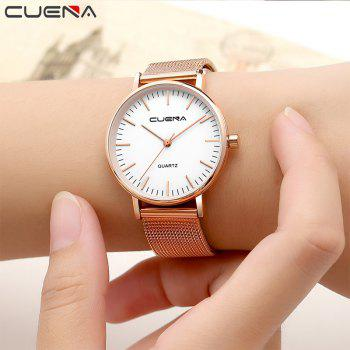 CUENA 6645G Women Casual Quartz Watch Stainless Steel Band Wristwatch - WHITE ROSE GOLD