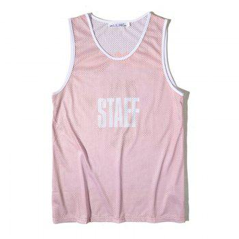 Men's Simple Letter-print Sports Tank Top - PINK PINK