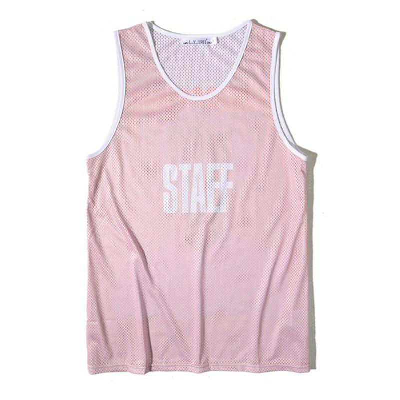 Men's Simple Letter-print Sports Tank Top - PINK M