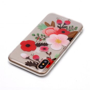 Flower Pattern Soft TPU Anti-scratch Back Cover Case for iPhone X - multicolorCOLOR