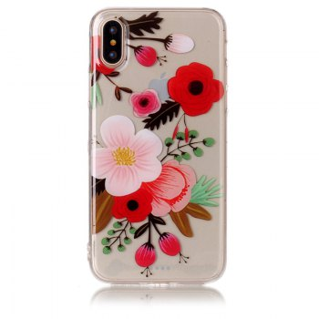 Flower Pattern Soft TPU Anti-scratch Back Cover Case for iPhone X - MULTICOLOR multicolorCOLOR