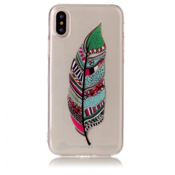Feather Pattern Soft TPU Anti-scratch Back Cover Case for iPhone X - MULTICOLOR multicolorCOLOR