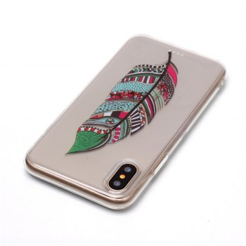 Feather Pattern Soft TPU Anti-scratch Back Cover Case for iPhone X - multicolorCOLOR