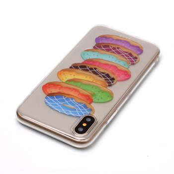 Doughnut Pattern Soft TPU Anti-scratch Back Cover Case for iPhone X - multicolorCOLOR
